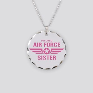Proud Air Force Sister W [pink] Necklace Circle Ch